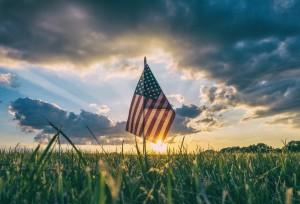USA Flag in a Field