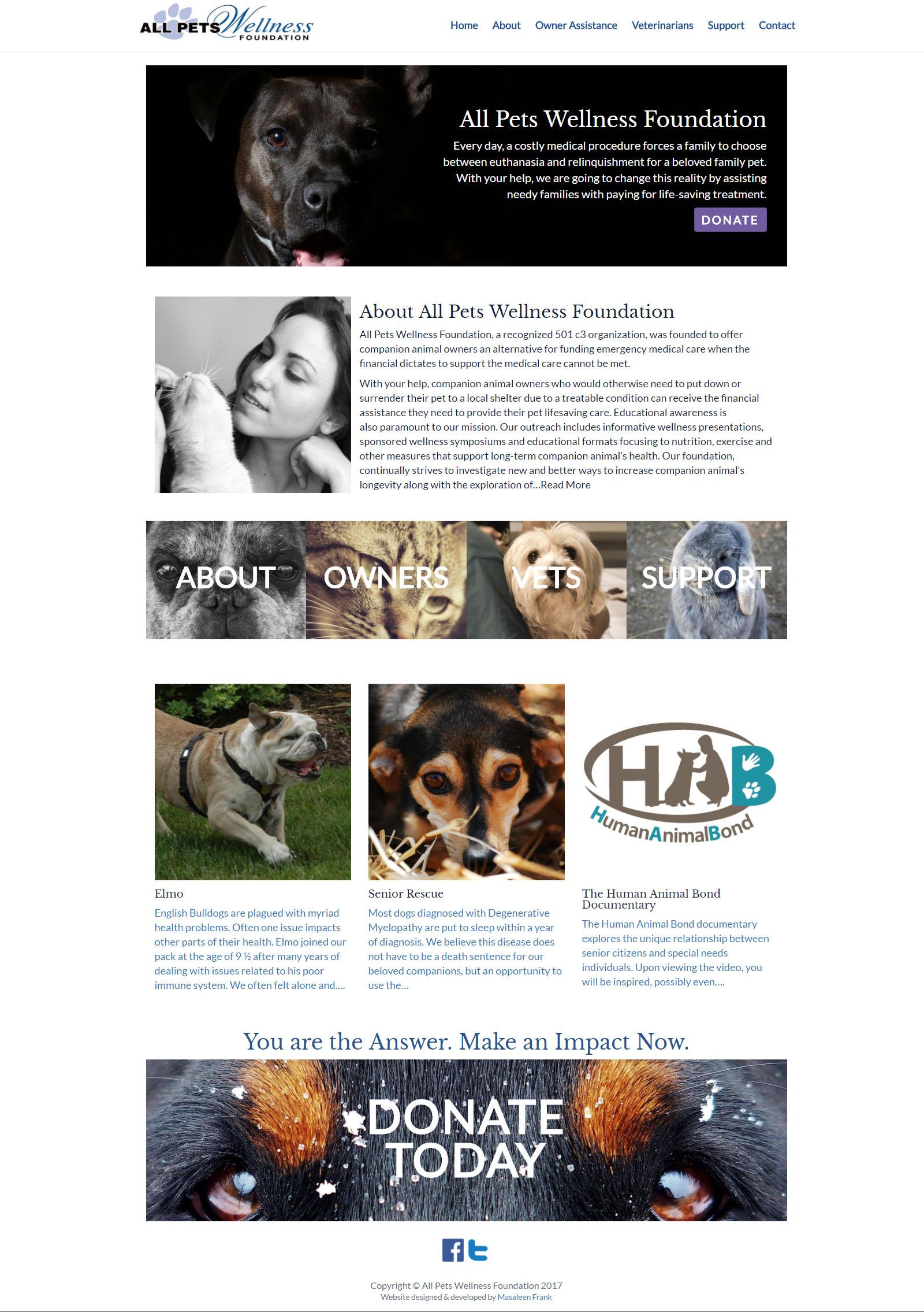 All Pets Wellness Foundation - Website Screenshot
